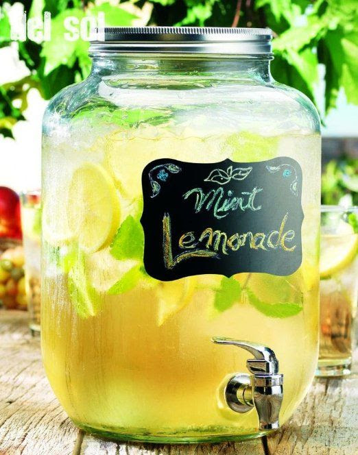 Clear Glass 2-gallon Chalkboard Beverage Dispenser with Spigot ~ Juice Holder Jug Party Centerpiece, country chic weddings, shabby chic, bbqs, engagement party ideas <3