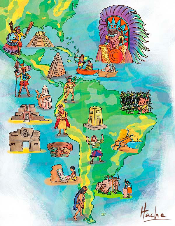 Ilustración. Indígenas nativos de América por Hache Holguín