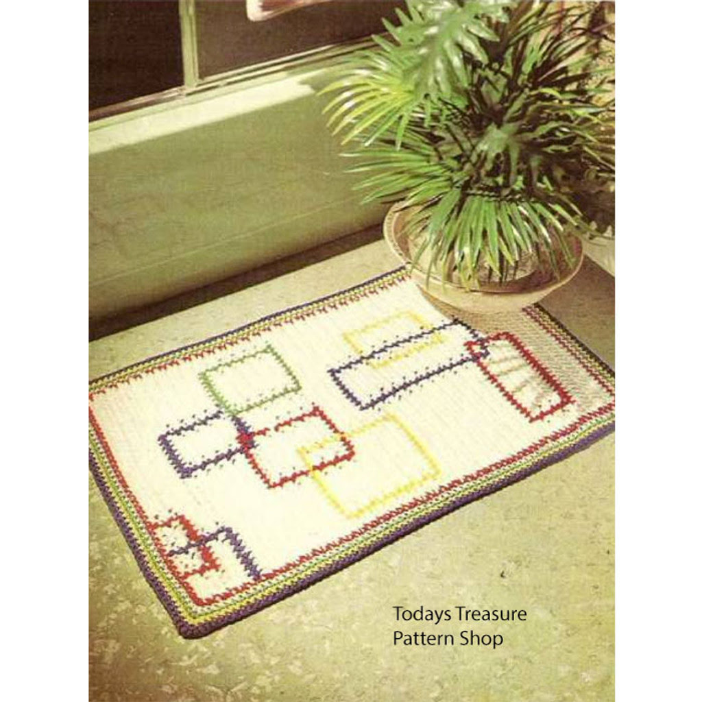 Crochet Rug Pattern with Geometric Lines