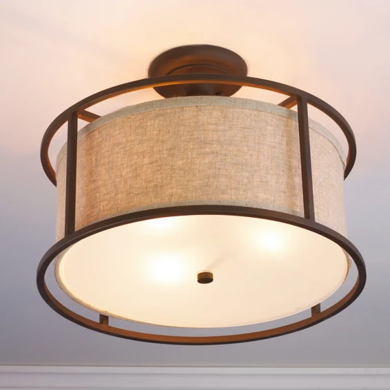 Springfield Drum Shade Semi Flush Ceiling Light