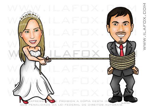 Caricatura casal, noivos, noiva puxando noivo pela corda, caricatura para casamentos by ila fox