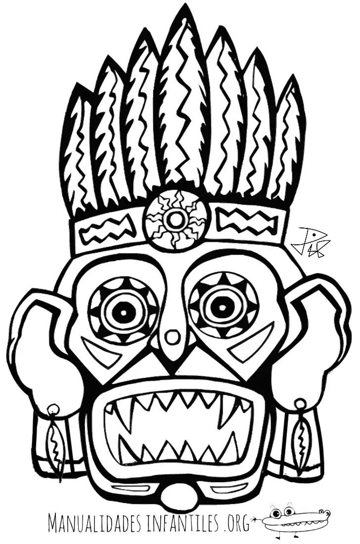 Máscara Maya 1 Actividades Para Niños Manualidades Fáciles Y