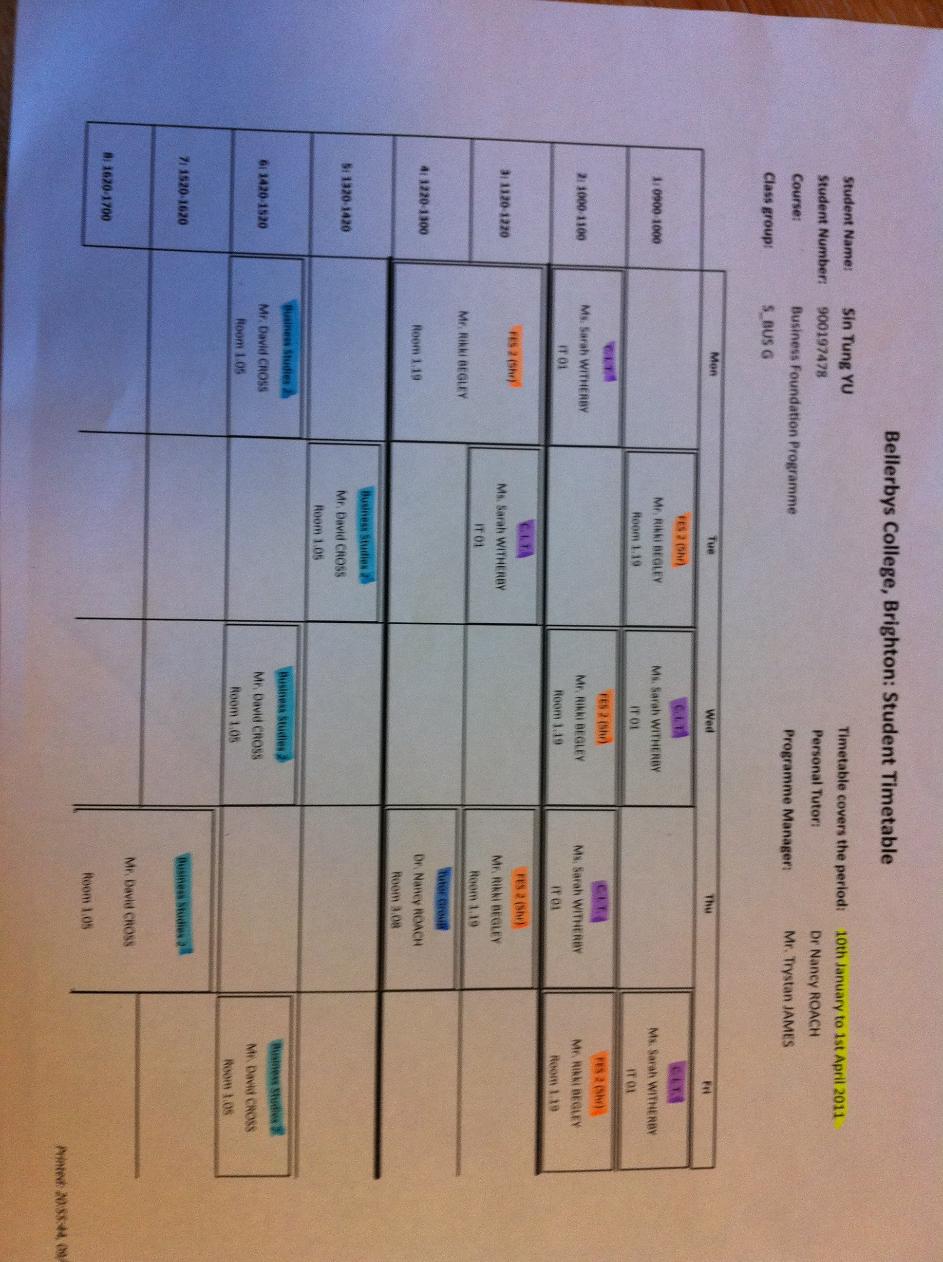 Daily Life Timetable