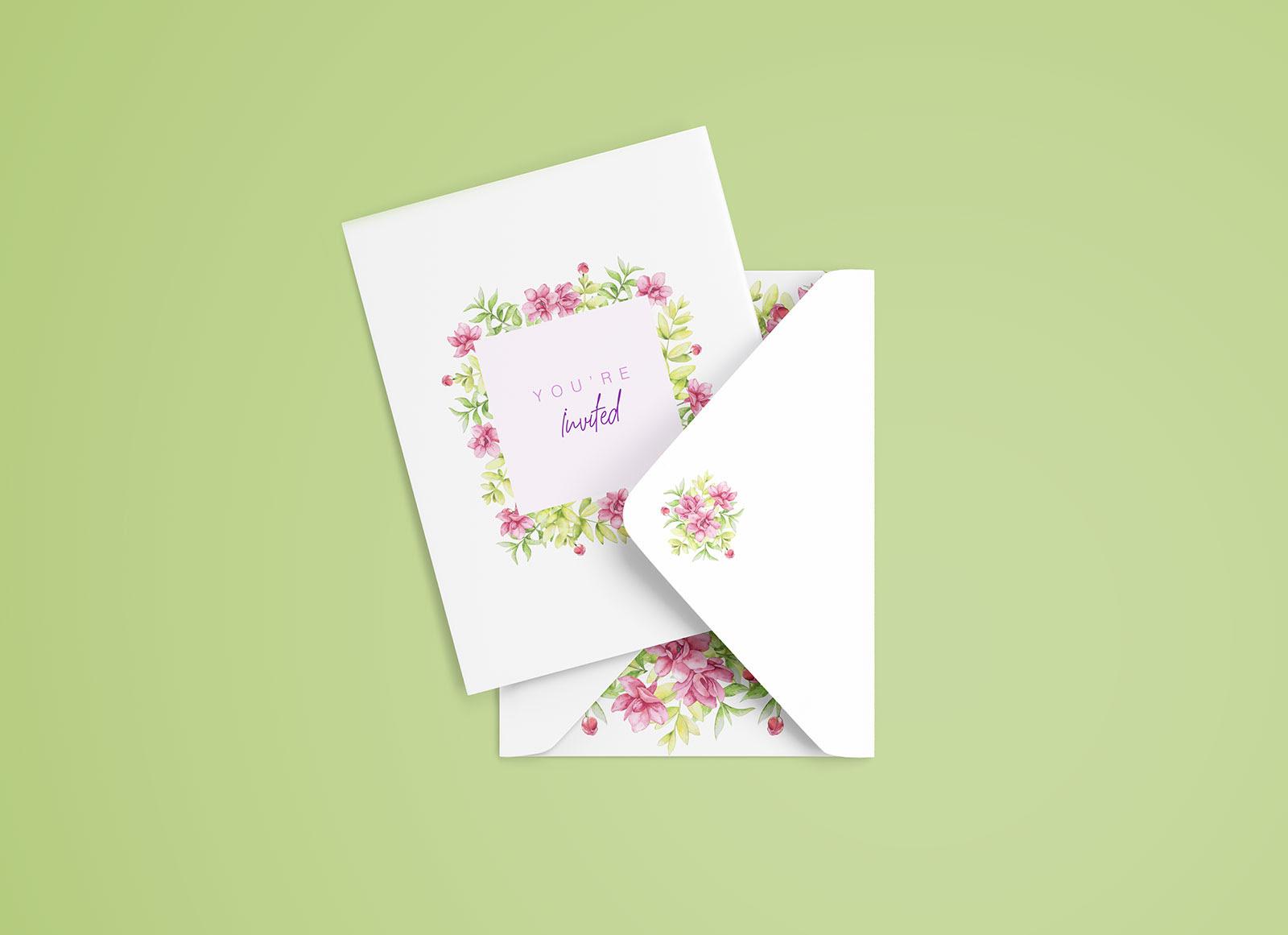 Download Free Simple Invitation Card Mockup PSD - Good Mockups