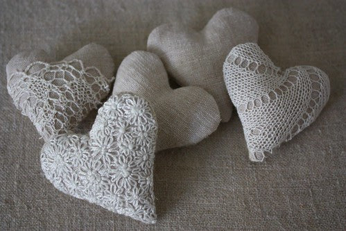 Linen and Lace hearts