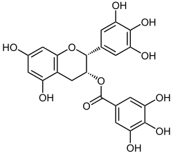 Structural formula of epigallocatechin gallate