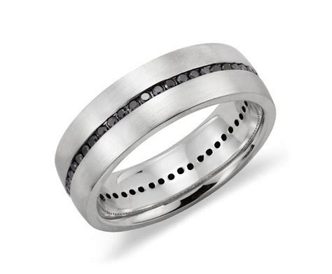 Channel Set Black Diamond Men's Wedding Ring in Sterling