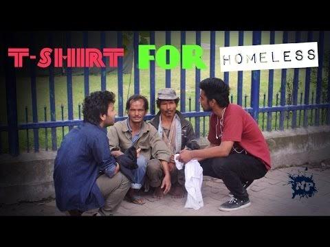 Giving Nepaliprankster T-shirt to Homeless