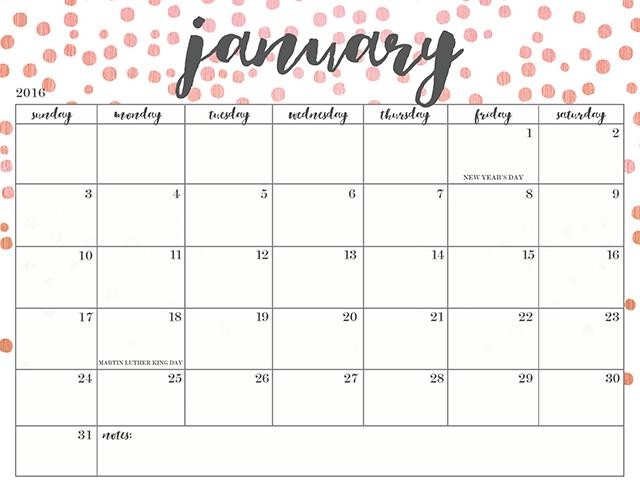 free printable monthly calendar 2017 | Trendy Pic