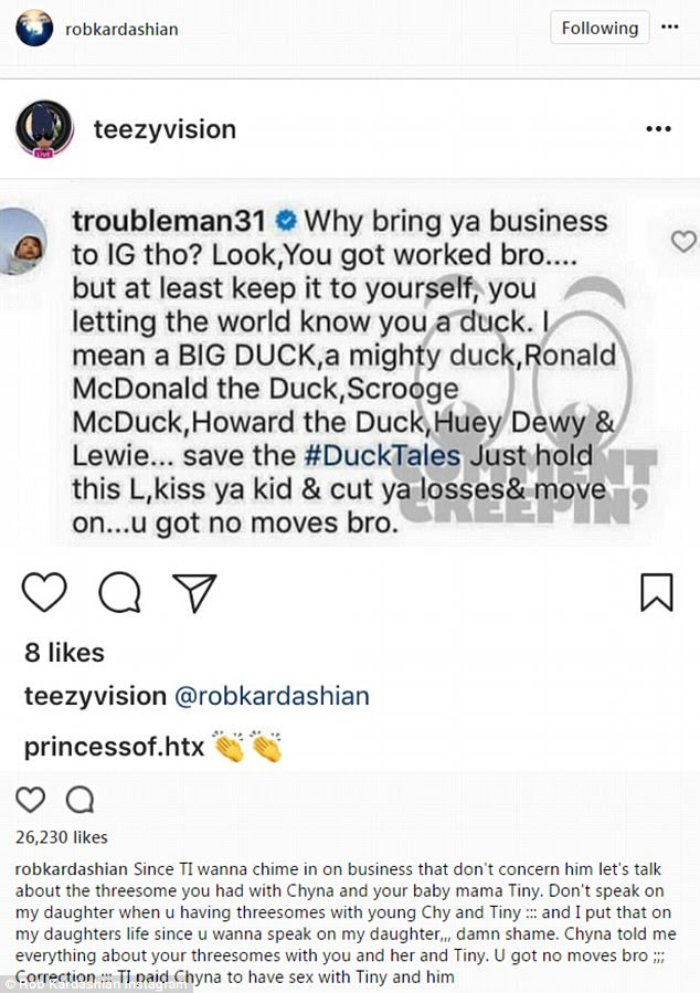 Post 17: When the rapper TI called him out for the posts, Rob claimed that the rapper had a threesome with Chyna and his ex-wife, Tameka 'Tiny' Cottle-Harris
