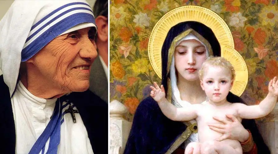 Santa Teresa de Calcuta. Foto: © 1986 Túrelio (via Wikimedia-Commons), 1986 / Lizenz: Creative Commons CC-BY-SA-2.0 de / Virgen de los Lirios.