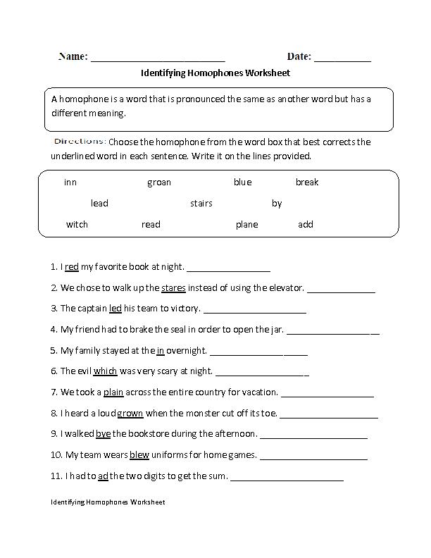 Englishlinx Com Homophones Worksheets