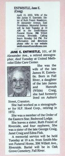 Obit Jane Craig Entwistle by midgefrazel