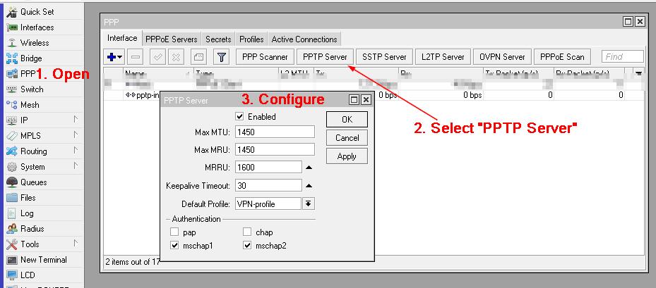 VPN enable PPTP