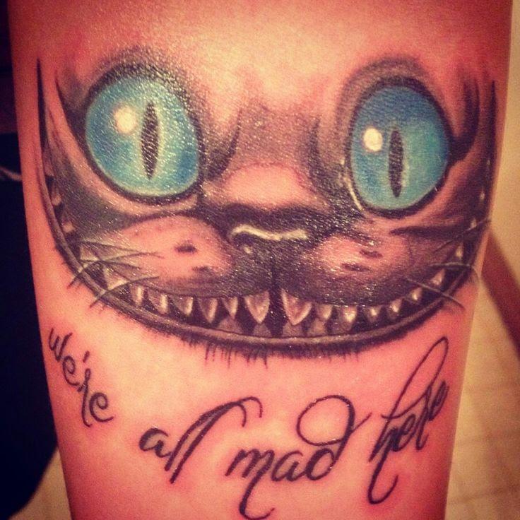 Cheshire Cat Were All Mad Here Arm Tattoo Tattoomagz