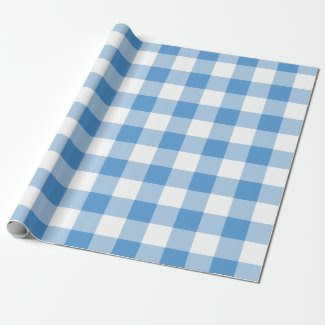 Light Blue and White Gingham Pattern Wrapping Paper