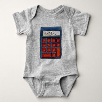 Calculator Math Nerd Mathematics Numbers Teacher Baby Bodysuit
