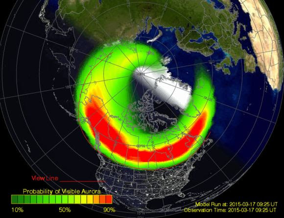 The awesome 30-minute aurora forecast map updates the shrinking and expanding of Earth's northern auroral oval due to changes in the solar wind from CMEs, flares and the like. This view is from this morning around 4:55 a.m. Red indicates intense aurora. Credit: NOAA
