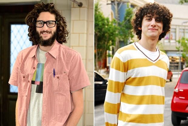 Bernardo Mendes deixa barba crescer para viver Webson. Na outra foto ele mais novo vivendo Bodão de Malhação (Foto: Pé na Cova / TV Globo)