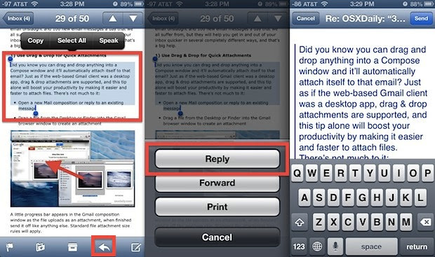 Reply To Email Smarter By Quoting Selected Text In Ios Mail