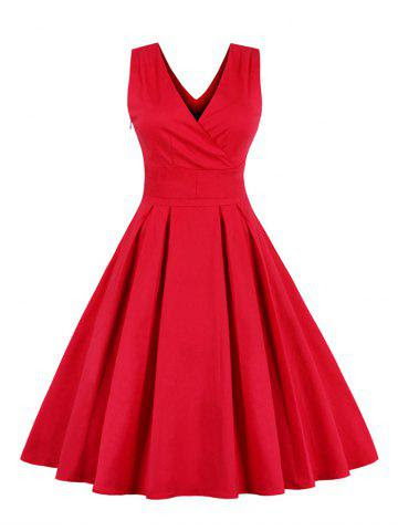 Retro Back Bowtie Sleeveless Midi Skater Dress - RED 4XL
