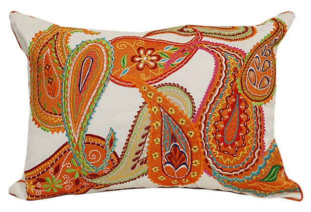 Embroidered Lumbar Pillow, Orange/Multi    Divine Designs
