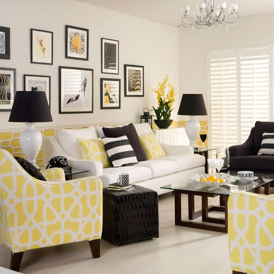 Yellow monochrome living room | Decorating with monochrome ...