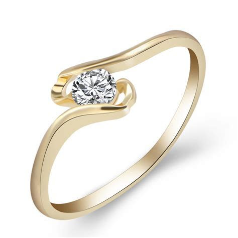 White Gold Fashion Round Engagement Ring for Valentine Day