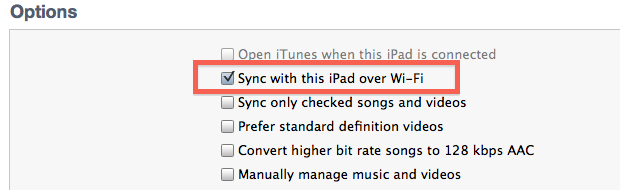 Toggle wireless syncing on and off