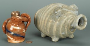 Lot 688: 2 NC Folk Pottery Items by Burlon Craig - Image 1