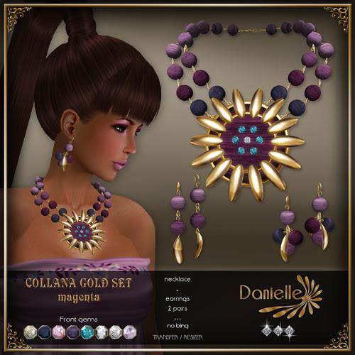 DANIELLE Collana Gold Set ~ Magenta
