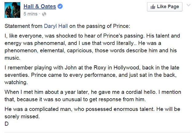 Daryl Hall of Hall & Oates posted a long tribute to the 1999 hitmaker, once again showing how the star was regarded by his peers