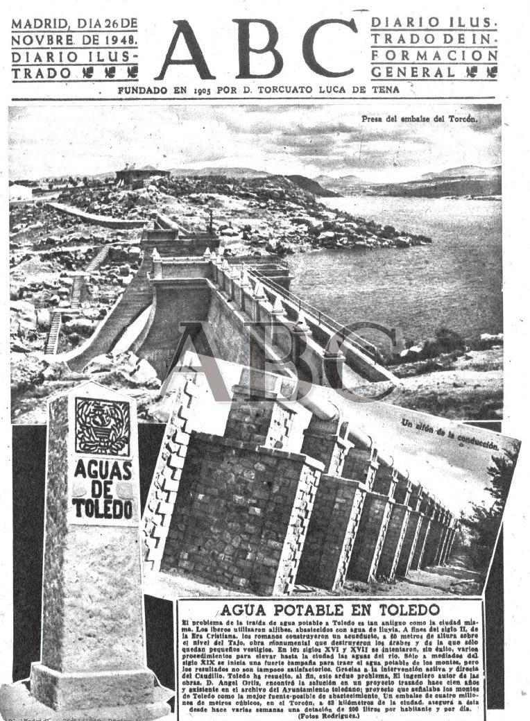 El agua del Torcón llega a Toledo. Portada del diario ABC del 26-11-1948