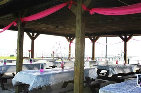 decorated pavilion and picnic tables   Wedding Ideas