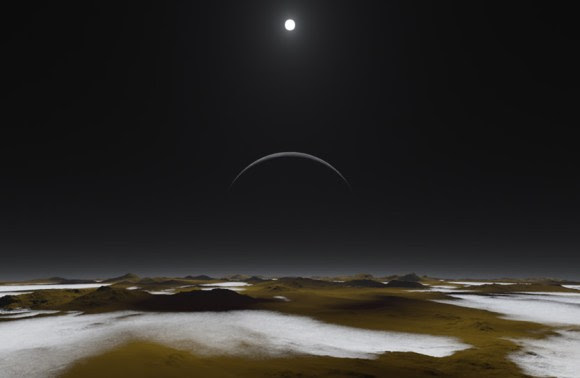 This artist's concept of the frosty surface of Pluto with Charon and our sun as backdrops illustrates that while sunlight is much weaker than it is here on Earth, it isn't as dark as you might expect. In fact, you could read a book on the surface of Pluto. Credit: NASA.