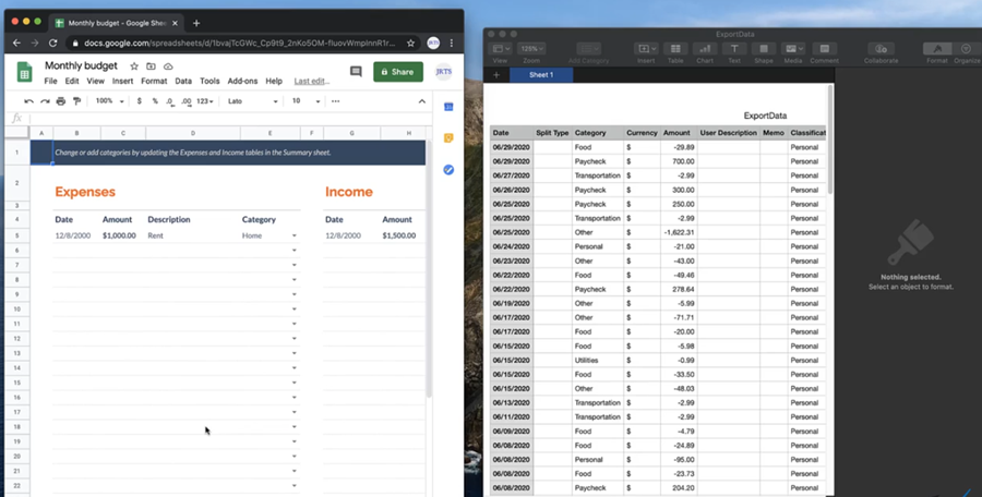 Image of the Excel spreadsheet and the CSV file side-by-side