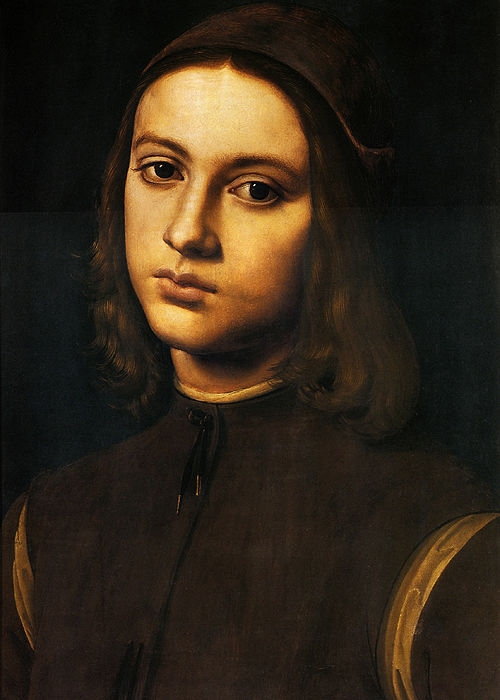 wycherley:  Perugino (c. 1446-1523), Ritratto di giovane (Portrait of a young boy), 1495 Now considered to be a work of Perugino, this portrait had also been attributed to Lorenzo di Credi, Viti, Raibolini and Raphael, and though for some time the identity of the subject was claimed to be Alessandro Bracessi, is now remains unknown.