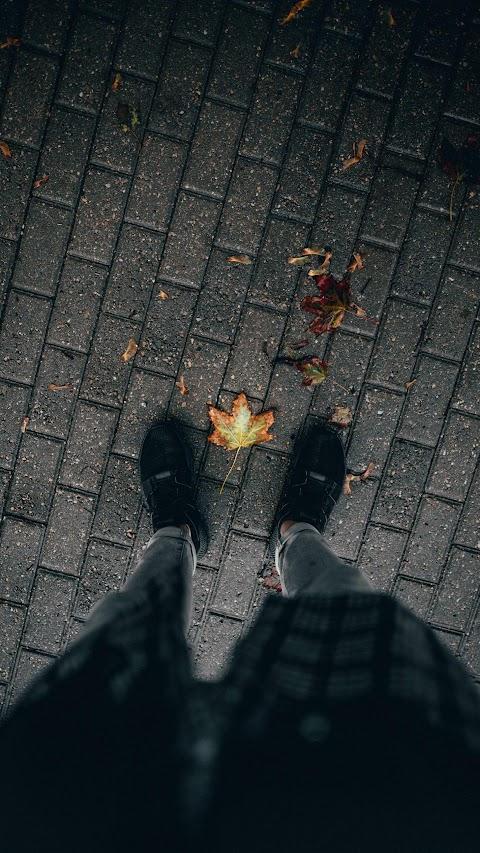 خلفية ستوري جميلة لاقدام شاب مع اوراق الخريف بدقة عالية hd