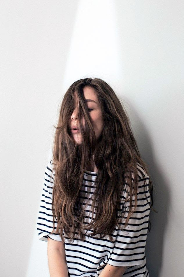 Le Fashion Blog Weekend Style Laid Back Striped Tee Effortless Long Wavy Hair Via Katherine Is Awesome