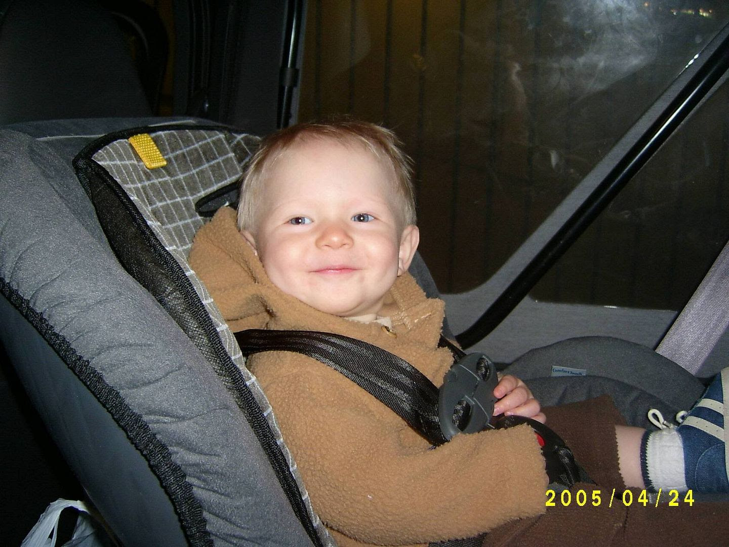 Gabriel in his new car seat