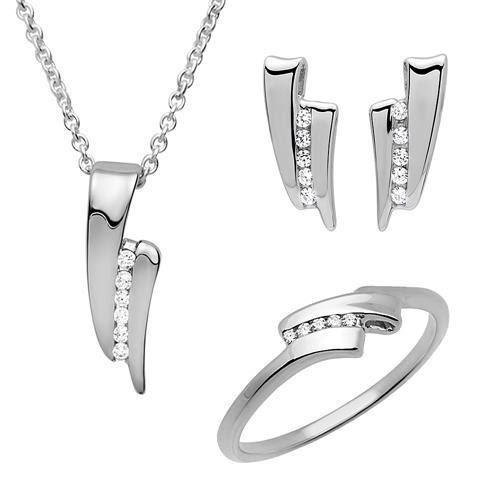 Schmuckset Silber Ohrringe Ring Kette Anhänger SS0017