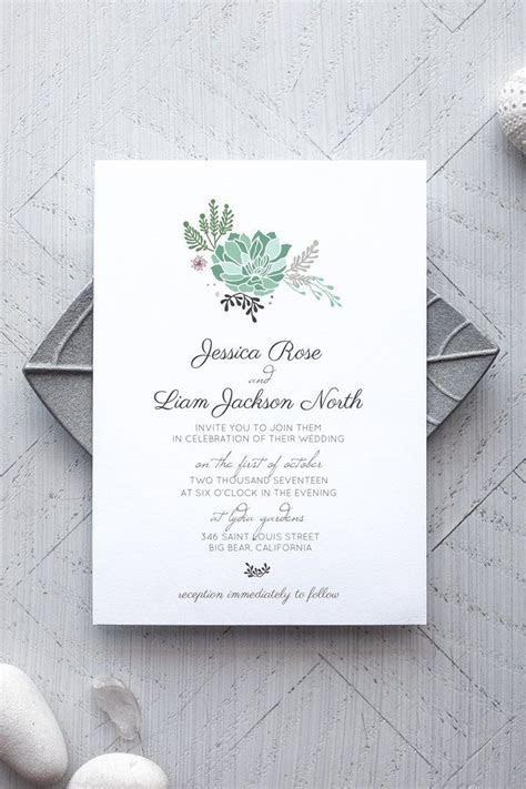 Succulent Printable Wedding Invitation in 2019   Alchemie