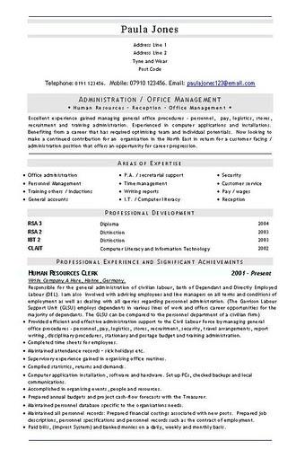 latest curriculum vitae format. Admin Office Management CV and