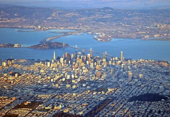 Flying above San Francisco, California houses