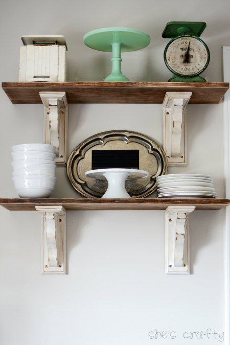 open kitchen shelves, diy shelves, open shelving, kitchen shelves, dish shelves