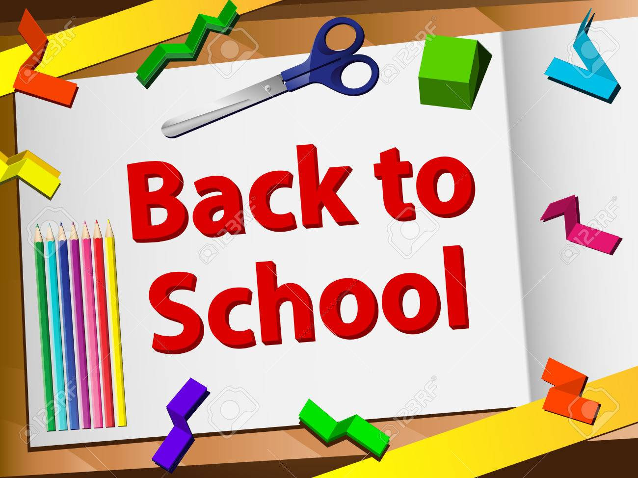 Back To School Desk With Scissors And Pencils. Editable Vector ...