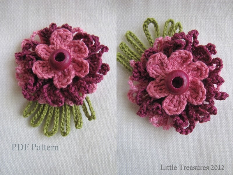 PDF Pattern for Crocheted Flowers - Sunny flowers pattern, thin petalled flowers, photo-tutorial, crochet instructions - sewella
