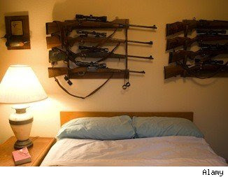Gun safety at home: Firearms displayed in racks can invite thieves.