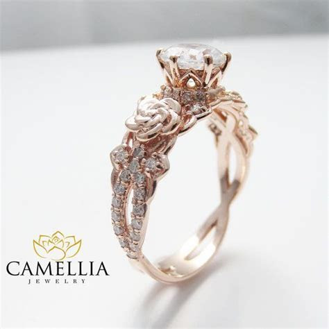 14K Rose Gold Engagement Ring Round Moissanite Engagement