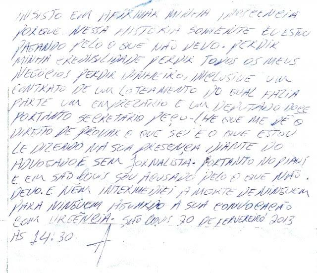 Carta de Júnior Bolinha